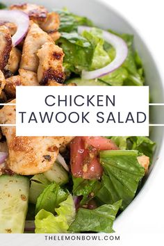 This satisfying chicken salad is made with tender breast meat marinated in a lemon, garlic vinaigrette then served over a fragrant Lebanese salad. Raita Recipe Indian, Chicken Tawook, Lebanese Garlic Sauce, Food Dishes, Side Dishes, Lebanese Salad, Salad Places, Kitchen Recipes, Kitchen Hacks