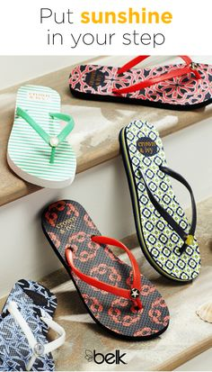Put a little sunshine in your step with Crown & Ivy™ flip flops. These fun slides come in our exclusive brand's signature patterns and bold colors. Wear them with maxi dresses, crops and shorts or add a little prep to your next pool party or beach bash by pairing them with your favorite swimwear. Shop Crown & Ivy™ shoes in stores or at belk.com.