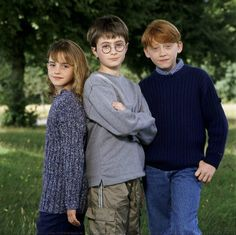 Harry, Ron, Hermione. I wish they were still this cute. (Emma is. Rupert is too. But not Dan.)