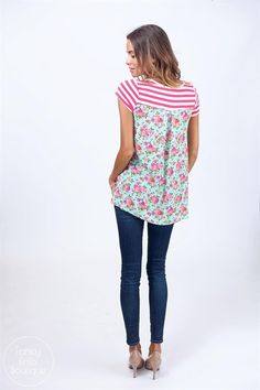 Stripes in the front, floral in the back, get the best of both worlds with this summer top!