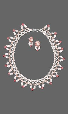 Collar-Style Necklace and Earring Set with SWAROVSKI ELEMENTS and Seed Beads