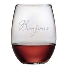 Bonjour Stemless Wine Glasses