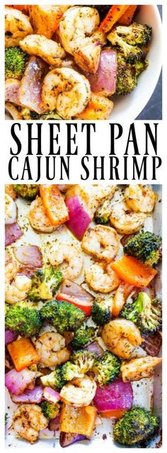 Sheet Pan Cajun Shrimp - A Dash of Sanity - - Sheet Pan Cajun Shrimp - simple, wholesome and full of classic Cajun flavors, the best part of this recipe is that it is ready in 20 minutes. Cajun Shrimp Recipes, Fish Recipes, Seafood Recipes, Cooking Recipes, Healthy Recipes, Shrimp Bake, Donut Recipes, Quick Recipes, Delicious Recipes
