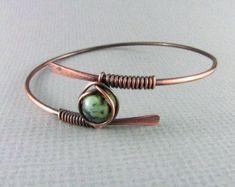 Copper bracelet wire jewelry purple bracelet by TroublesDesigns #HandmadeJewelry #WireJewleryIdeas