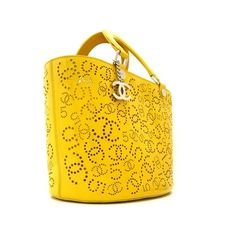 Chanel Yellow Patent Laser-Cut Tote