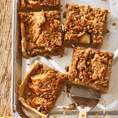 Crumb-Topped Apple Slab Pie - Nothing says autumn like sweet apple pie. Try these cinnamon-infused, crumb-topped treats with your favorite apple variety. Rome Beauty apples are tart and firm, while Granny Smiths are sweet and soft.