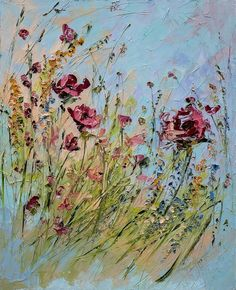 Items similar to Red Blue Art Wildflowers Abstract Original Painting Blue Custom Bouquet Painting Floral Flower Beige Landscape Impressionism Modern Knife on Etsy Oil Painting Flowers, Oil Painting Abstract, Texture Painting, Flower Paintings, Abstract Flowers, Flower Canvas, Flower Art, Art Abstrait, Blue Art