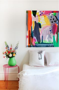 colorful bedroom love the art
