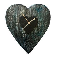 SILVER MOONLIGHT HEART SLATE CLOCK