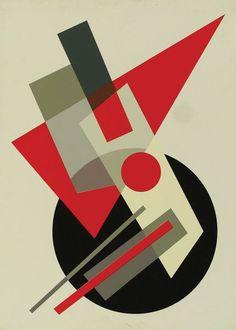 Ходосевич-Леже, Надежда. Супрематизм № 1. Композиция с черным кругом и красным треугольником на белом фоне. 1960-е гг.