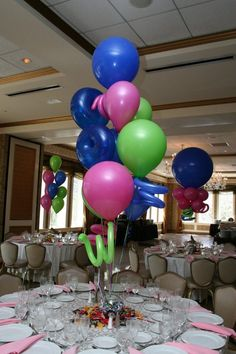 "Jumbo 18"" latex with 260 balloon curls and our balloon weight made for a great centerpiece for this Bat Mitzvah and any time for anyone on a budget."