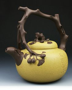 Brown and yellow clay carved ceramic YiXing teapot | Art Pottery Mall | 8 Days of Christmas | Pin to win at http://wp.me/p49CzR-4