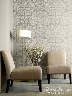 Stenciled wall -- grey & silver-- Also easy to paint over; no scraping and peeling off wallpaper later