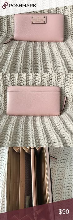 Kate Spade wallet Kate Spade light pink wallet. Gold hardware! Perfect for spring and summer! kate spade Bags Wallets