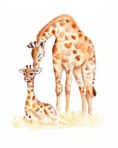 Giraffes Mother and baby watercolor print 8 X por Marysflowergarden