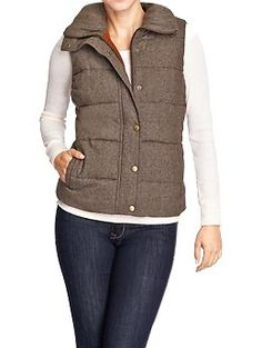 $39.94 - Women's Quilted Tweed Vests | Old Navy