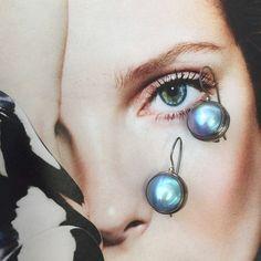 Blue Mabey pearl earrings Absolutely gorgeous dreamy blue Mabey pearl  9.25 sterling silver earrings rare. nwot Jewelry Earrings