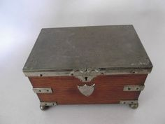Antique 1870s English Oak And Silver Plated Tea Caddy By John Grinsell & Sons. $150.00, via Etsy.
