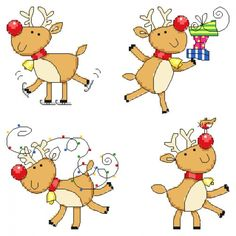 Cute Reindeer Christmas Cards Cross Stitch Pattern