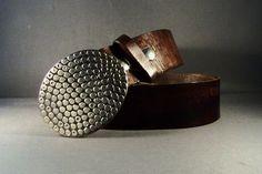 Vintage Brown Leather  Belt Hammer Studs Effect by 4MLeatherDesign, $72.00
