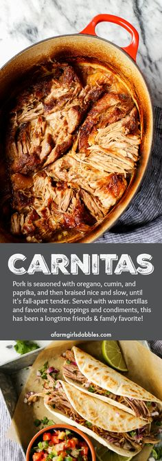 Carnitas recipe from afarmgirlsdabbles.com - Pork is seasoned with oregano, cumin, and paprika, and then braised nice and slow, until it's fall-apart tender. Served with warm tortillas and favorite taco toppings and condiments.