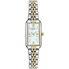 Citizen ladies' slim line two tone bracelet watch featuring rectangular shimmering mother of pearl dial.