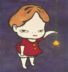 yoshitomo nara(1959- ), lamp flower girl, 1993. acrylic on canvas, 150.3 x 140 cm. sotheby's