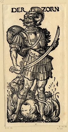 WL bearded male figure holding a sword, a lion among the flames at his feet; from a series of seven woodcuts.  c.1510  Woodcut