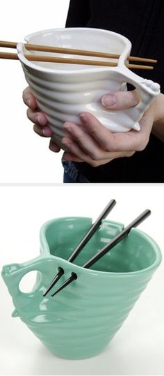 Noodle Bowl With Spaces For Chopsticks // #brilliant