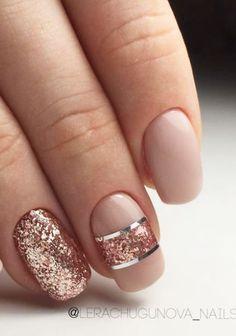 Rose gold nude glitter bails