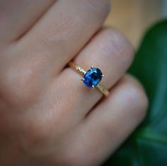 A stunning Blue Sapphire Engagement ring set in a textured 14K solid yellow gold band. Something Blue, Gold Bands, Blue Sapphire, Custom Design, Engagement Rings, Yellow, Color, Jewelry, Bespoke Design