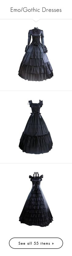 """""""Emo/Gothic Dresses"""" by hopelessxcreature ❤ liked on Polyvore featuring dresses, dressy dresses, long sleeve dressy dresses, stand up collar dress, fancy dresses, long sleeve fancy dresses, frill dress, flutter-sleeve dress, ruffle dress and frilly dresses"""