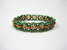 TMNT Themed Stretchy Chainmaille Bracelet (Michelangelo) - Helm (Parallel) Chain Weave by Sneath on Etsy