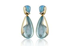 Kara Ross's blue topaz and opal drop earrings with 18-karat yellow gold and pave diamond accents ($2,538)