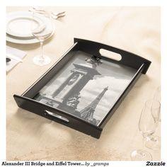 Alexander III Bridge and Eiffel Tower in Paris Serving Platters