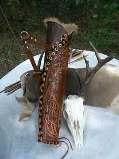 HTooled Leather Archery Quiver Bow Hunters Archery Hunters, Celtic, Viking, Renaissance Reenactments I want this! Archery Quiver, Archery Gear, Archery Hunting, Archery Targets, Arrow Quiver, Archery Bows, Deer Hunting, Leather Quiver, Leather Tooling