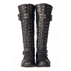 Black Knee High Lace up Combat Steampunk Western Military Boots... (1.035 UYU) ❤ liked on Polyvore featuring shoes, boots, footwear, combat booties, cowgirl boots, knee-high boots, cowboy boots and black knee high boots