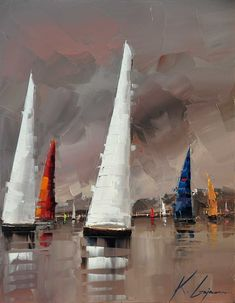 "Sailing in the Lake District 28""x22"". Kal Gajoum. Oil."