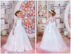 White Lace Flower Girl Dress Wedding Holiday by KingdomBoutiqueUA