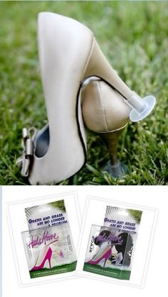 Heel Above are definitely above the rest when it comes to heel protection. They prevent your heel from sinking into soft ground and protect them from scratches and scuffs. Perfect for outdoor events like the races or a wedding party! You get 2 pairs in different widths so they will suit most heels and also come with a little pouch to carry them in. Available in black or clear to suit all styles on http://www.secretfashionfixes.ie/heels-above-high-heel-protectors/ha%20sho%20stppd.html