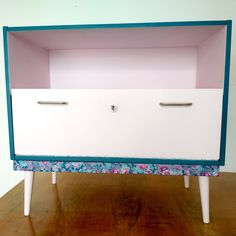 Retro upcycled dresser, TV stand, cabinet Dresser Tv, Decoupage, Retro Vintage, Upcycle, Cabinet, Table, Furniture, Home Decor, Clothes Stand