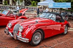 WOW! TWO STUNNING red beauties. Jaguar XK 150S Roadster & a XK 140 DHC. Photo courtesy M. T. Harmon Photography (http://www.mtharmon.com/)