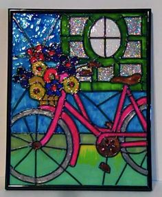 faux stained glass bicycle