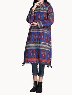 Sale 28% (42.56$) - Vintage Chinese Style Printed Hooded Zipper Long Trench Coat