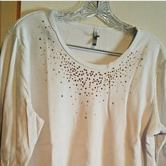 MARCH MADNESS - White Sequin Top White T Shirt W/ bead work on front, Size XL Tops Tees - Long Sleeve