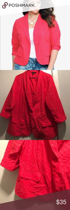 Torrid Eyelet Blazer Coral color...1 button closure with real pockets...worn once torrid Jackets & Coats Blazers