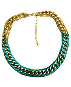 FALCHI by Falchi Necklace, Gold Tone Turquoise Ribbon Necklace - Fashion Jewelry - Jewelry & Watches - Macy's