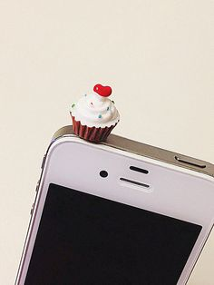 Phone dust plug jack cupcake with sprinkles by donutsandcoffee, $3.50