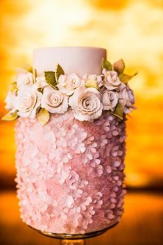 3 tier dusty pink cake accented with silver dragees and sugar flowers Beautiful Wedding Cakes, Gorgeous Cakes, Pretty Cakes, Cute Cakes, Amazing Cakes, Sweet Cakes, Bolo Floral, Floral Cake, Floral Wedding Cakes