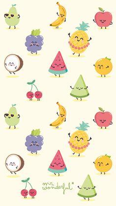 41 Ideas Fruit Wallpaper Kawaii For 2019 Cartoon Wallpaper, Kawaii Wallpaper, Disney Wallpaper, Summer Wallpaper, Cool Wallpaper, Pattern Wallpaper, Tropical Wallpaper, Cute Backgrounds, Wallpaper Backgrounds